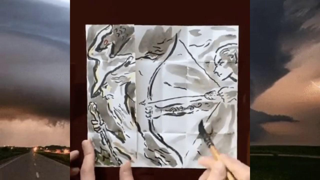 筆ペンと折り紙による神業